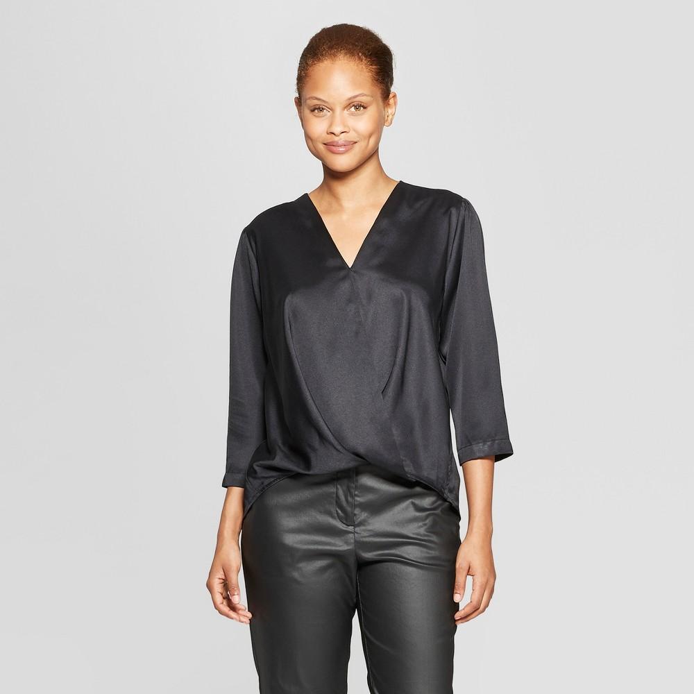 Women's Long Sleeve V-Neck Wrap Blouse - Prologue Black XL