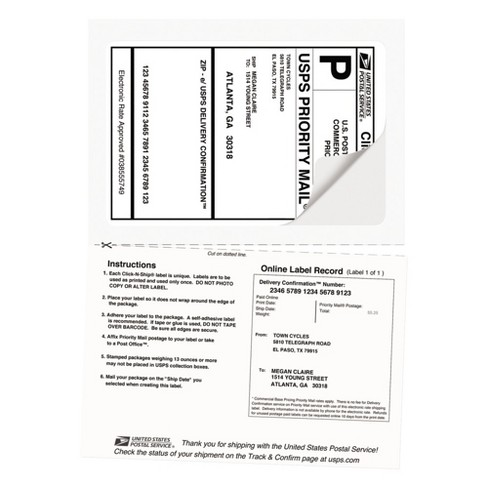 Avery Shipping Labels With Pa Receipt 5 116 X 7 58 White 50pk