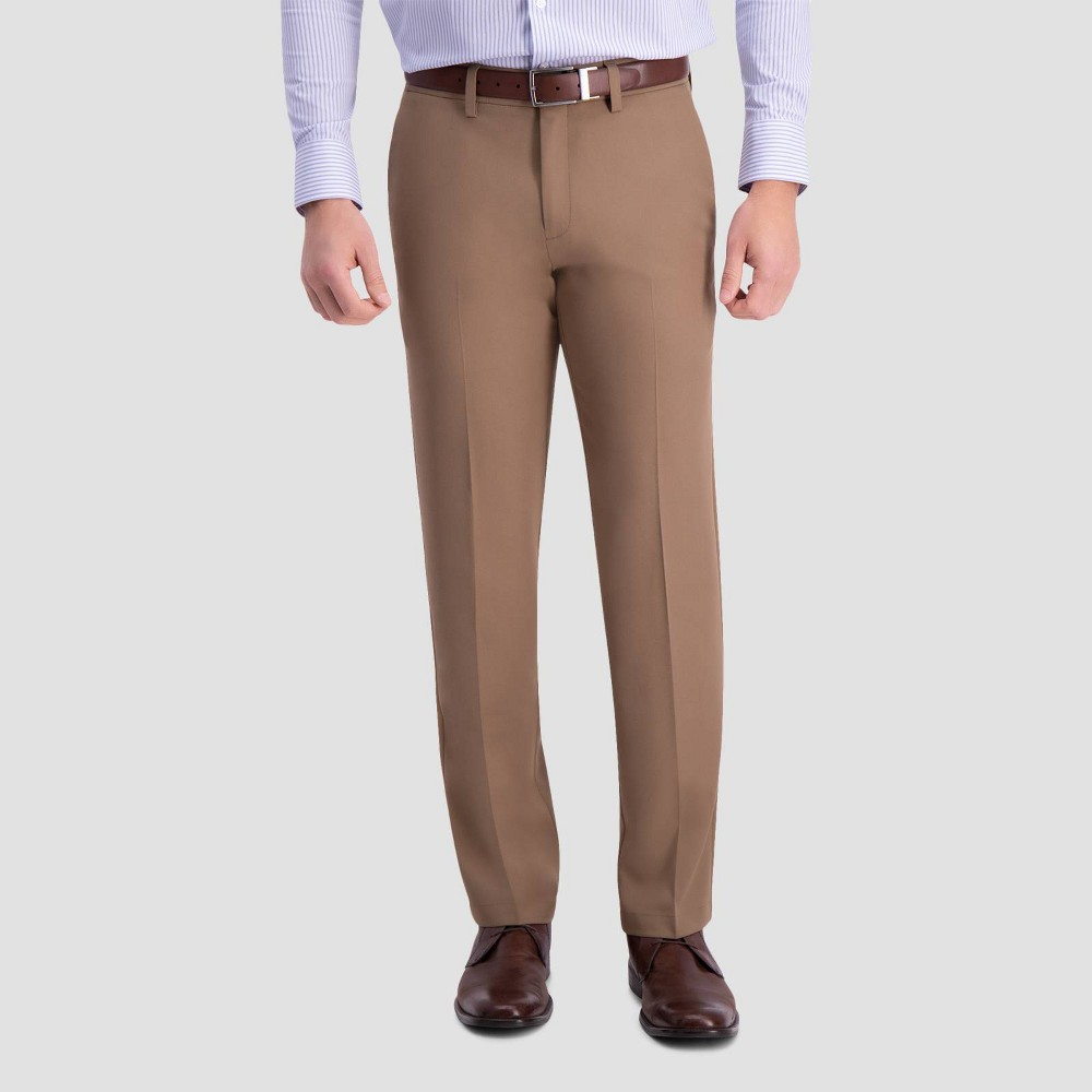 Haggar Men 39 S Cool 18 Pro Straight Fit Flat Front Casual Pants Toast 30x30