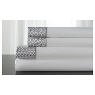 Adara 100% Cotton Printed Hem Sheet Set (King)Alloy