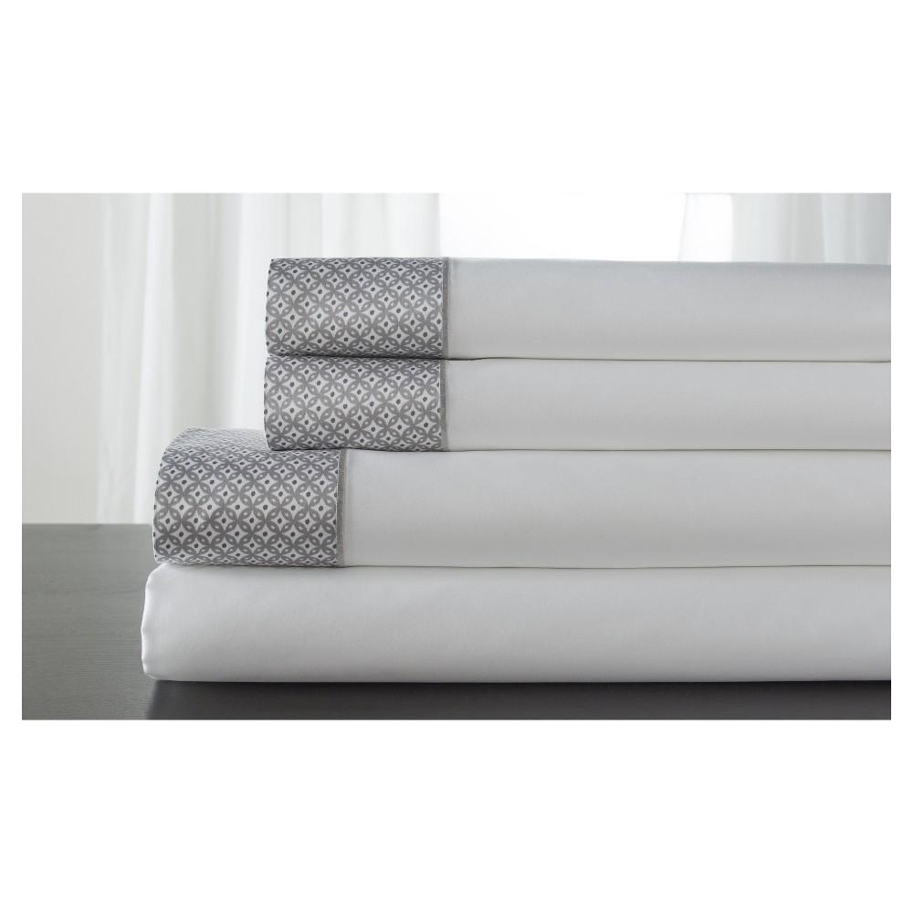 Adara 100% Cotton Printed Hem 400TC Sheet Set (California King) Alloy, Alloy Gray