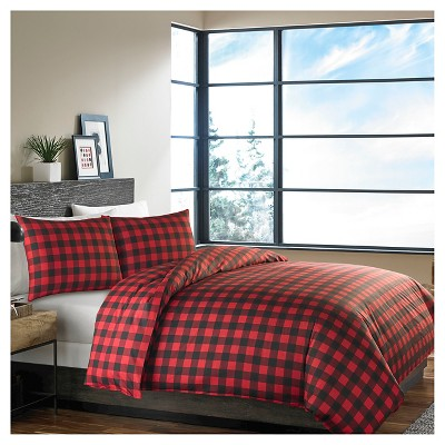 Mountain Plaid Duvet Cover And Sham Set Red - Eddie Bauer®