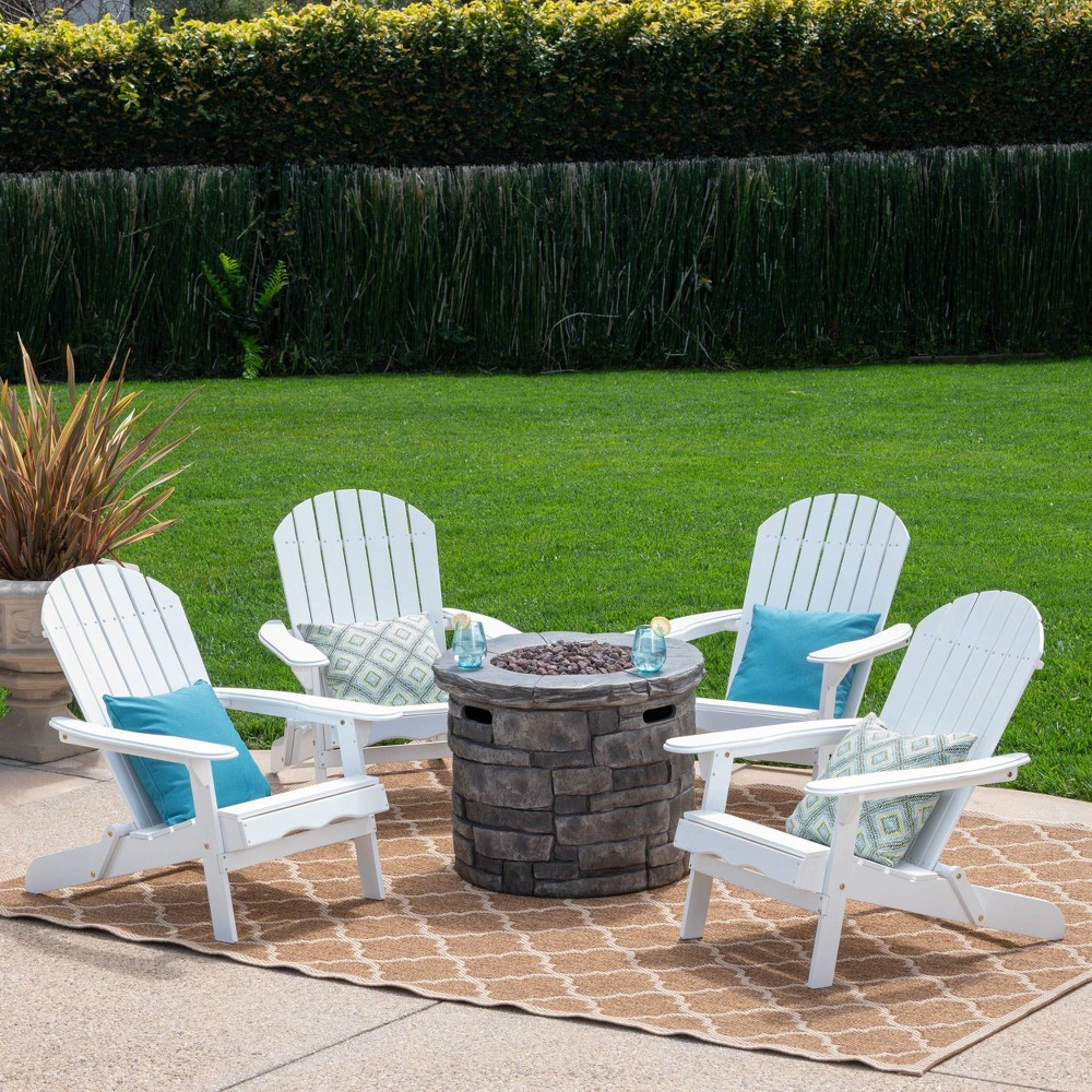 Maison 5pc Acacia Wood and Light Weight Concrete Adirondack Chair and Fire Pit Set - White - Christopher Knight Home