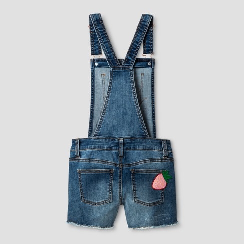 f0b9aeff6 Girls' Denim Coverall Shortall with Patches - Cat & Jack™ Medium Wash