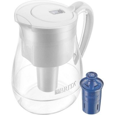 Brita Large 10 Cup BPA Free Water Pitcher with 1 Longlast Filter - White