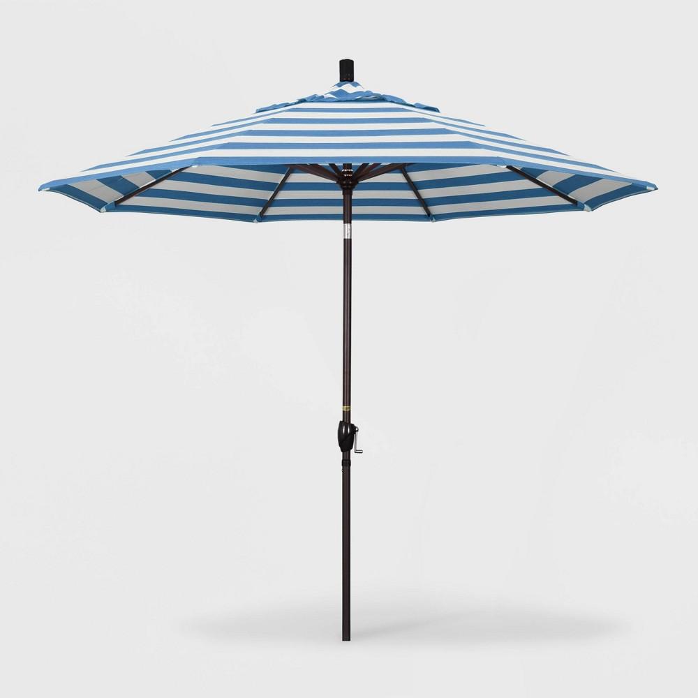 Image of 9' Pacific Trail Patio Umbrella Push Button Tilt Crank Lift - Sunbrella Cabana Regatta - California Umbrella