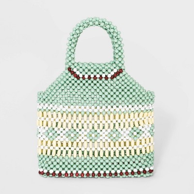 VR NYC Beaded Handle Mini Satchel Handbag - Green