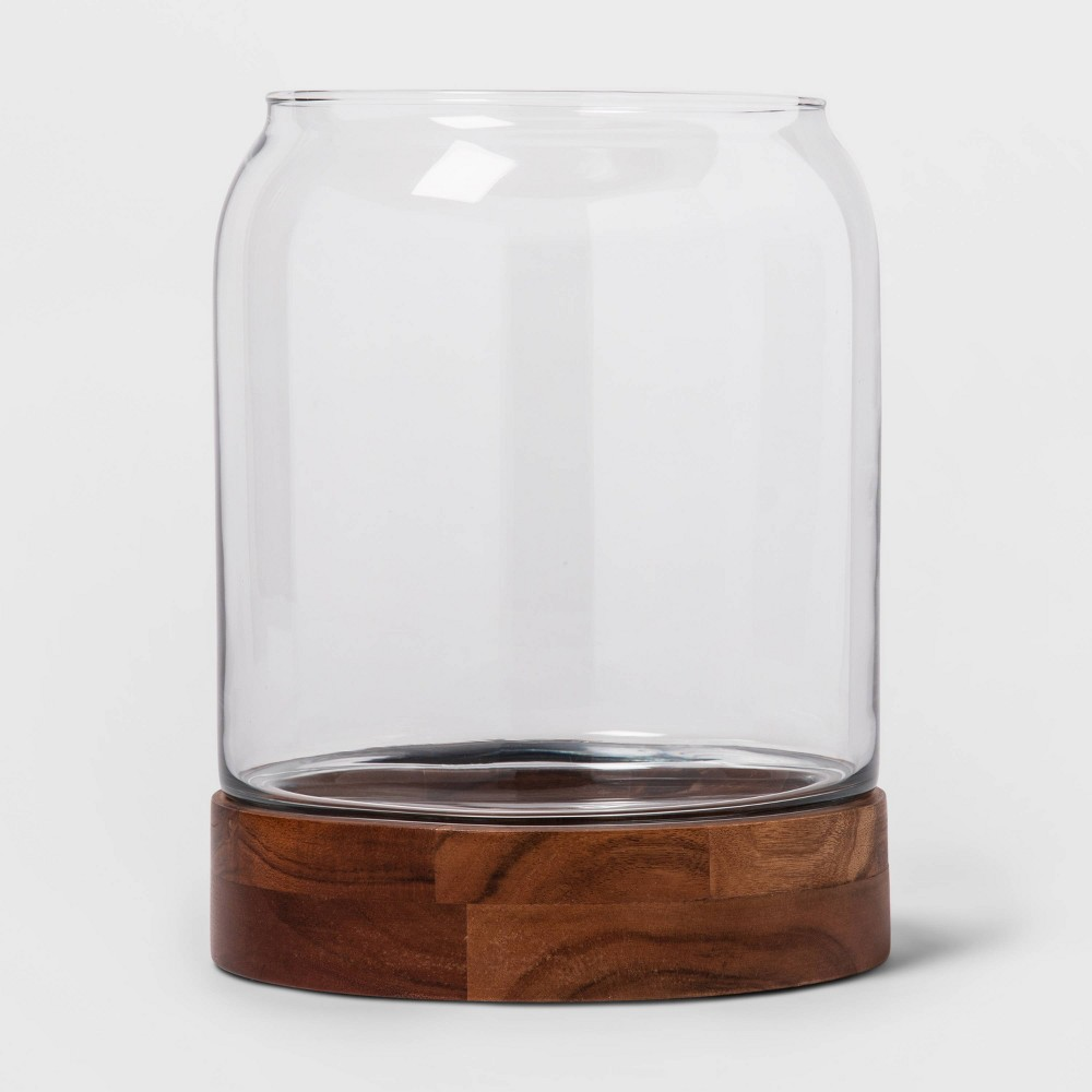 """Image of """"10.1"""""""" x 8"""""""" Decorative Glass and Wood Terrarium Brown/Clear - Threshold"""""""