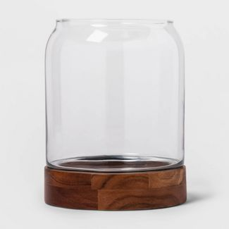 "10.1"" x 8"" Decorative Glass and Wood Terrarium Brown/Clear - Threshold™"