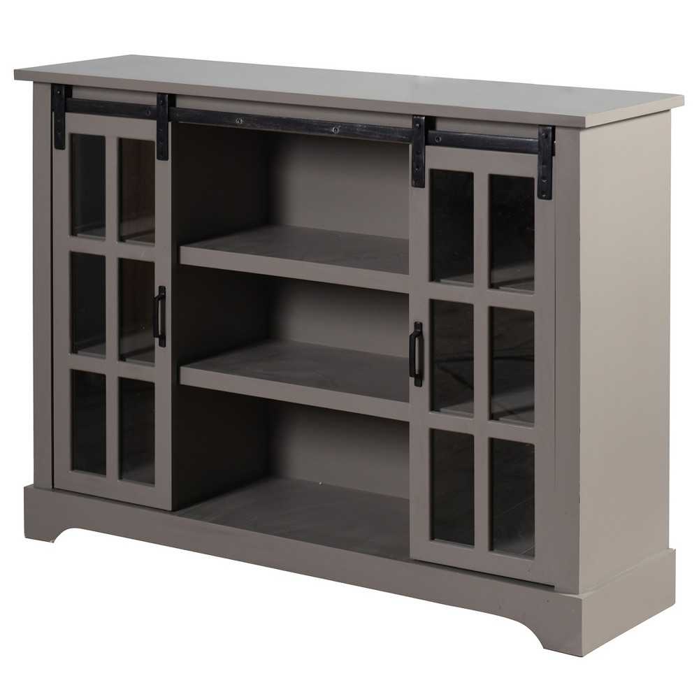 Church St Sideboard with Two Sliding Glass Pane Barn Doors Gray - StyleCraft