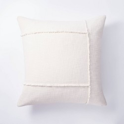 Pieced Woven Cotton Pillow Cream - Threshold™ designed with Studio McGee