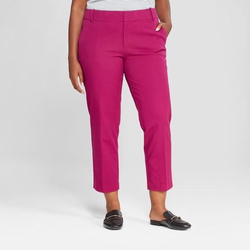 48fdfe538a4 Women s Plus Size Comfort Waistband Ankle Pants - Ava   Viv™ Magenta ...
