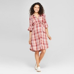 e85d31e6caf39 Maternity Plaid Bell Sleeve Woven Tie Waist Shirtdress - Isabel Maternity  by Ingrid & Isabel™