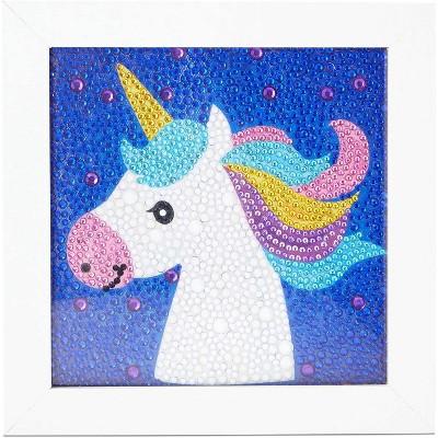 "Bright Creations 5D Diamond Painting Kit Cross Stitch Tool with Frame, Wall Decor Art, Unicorn 5.9"" x 5.9"""