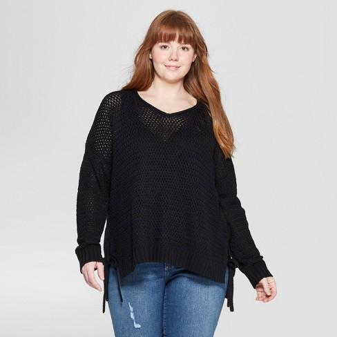 c61c94008df Women s Plus Size Long Sleeve Crew Neck Side Tie Tunic Sweater - Universal  Thread™ Black