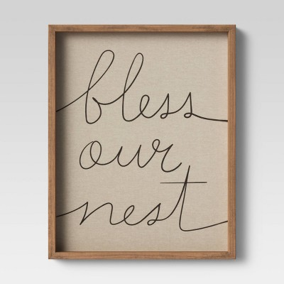 "16""x20"" Bless Our Nest Framed Linen Wall Canvas - Threshold™"