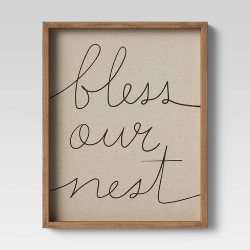 16 X20 Bless Our Nest Framed Linen Wall Canvas Threshold Target