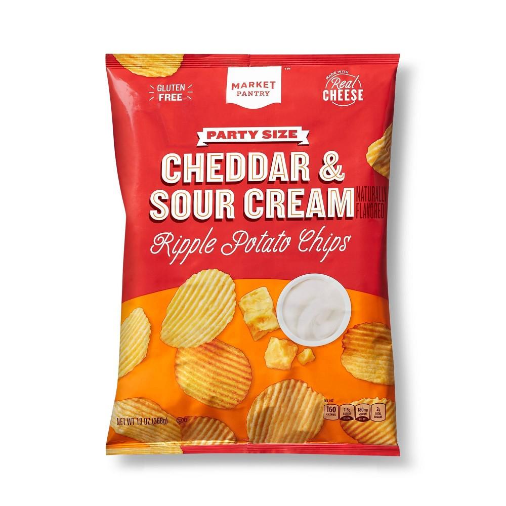 Cheddar 38 Sour Cream Ripple Potato Chips Party Size 13oz Market Pantry 8482