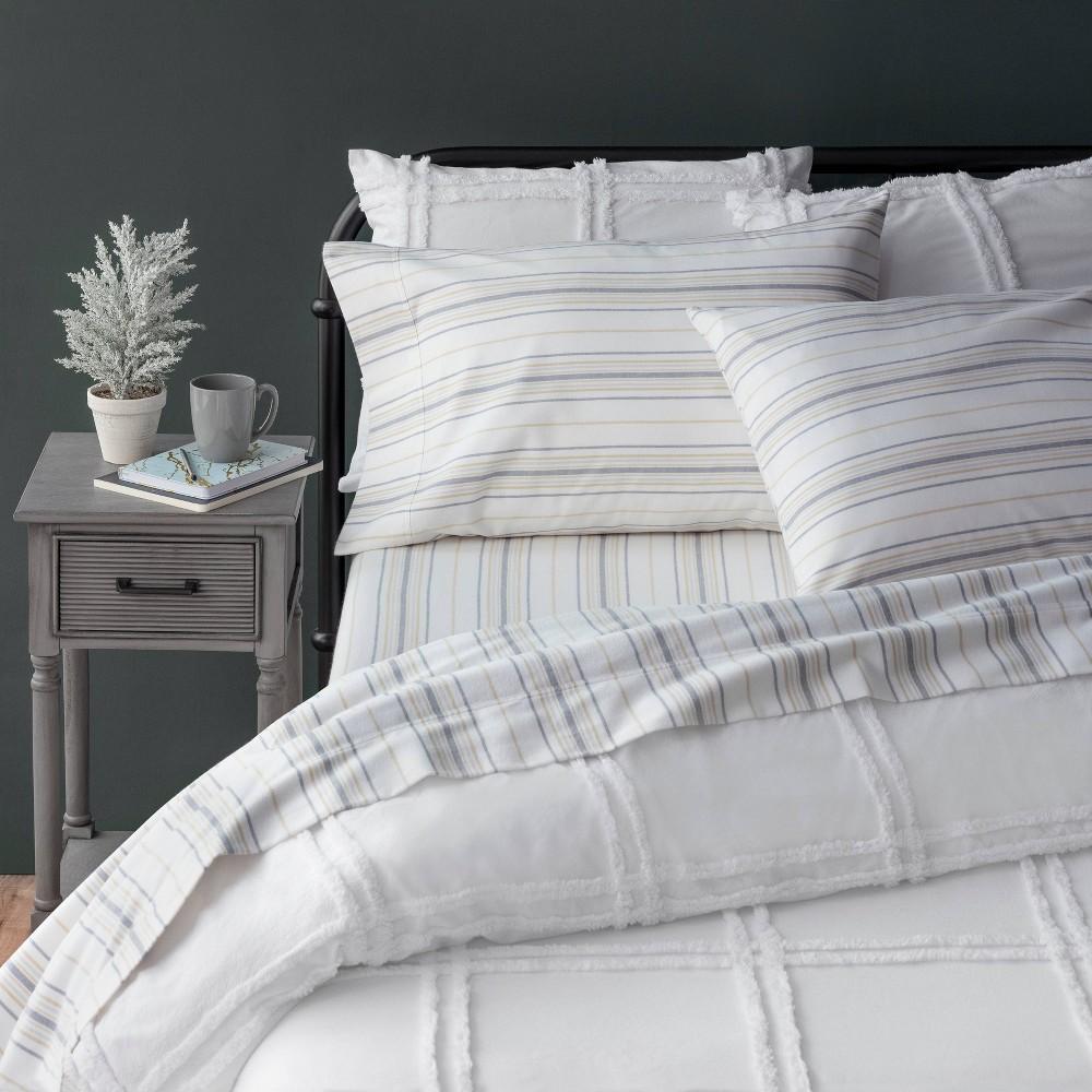 Twin Xl Striped Flannel Sheet Set Khaki Martha Stewart