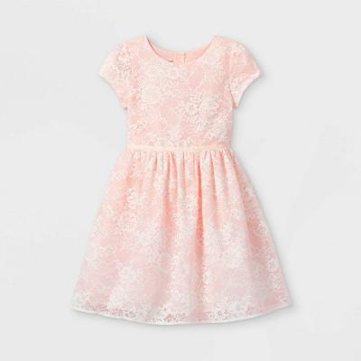 Mia & Mimi Girls' Lace Dress - Blush Pink