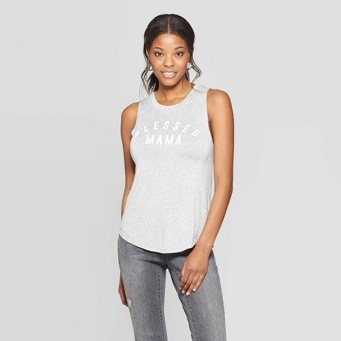 Women's Blessed Mama Scoop Neck Tank Top - Grayson Threads (Juniors') - Gray - image 1 of 2