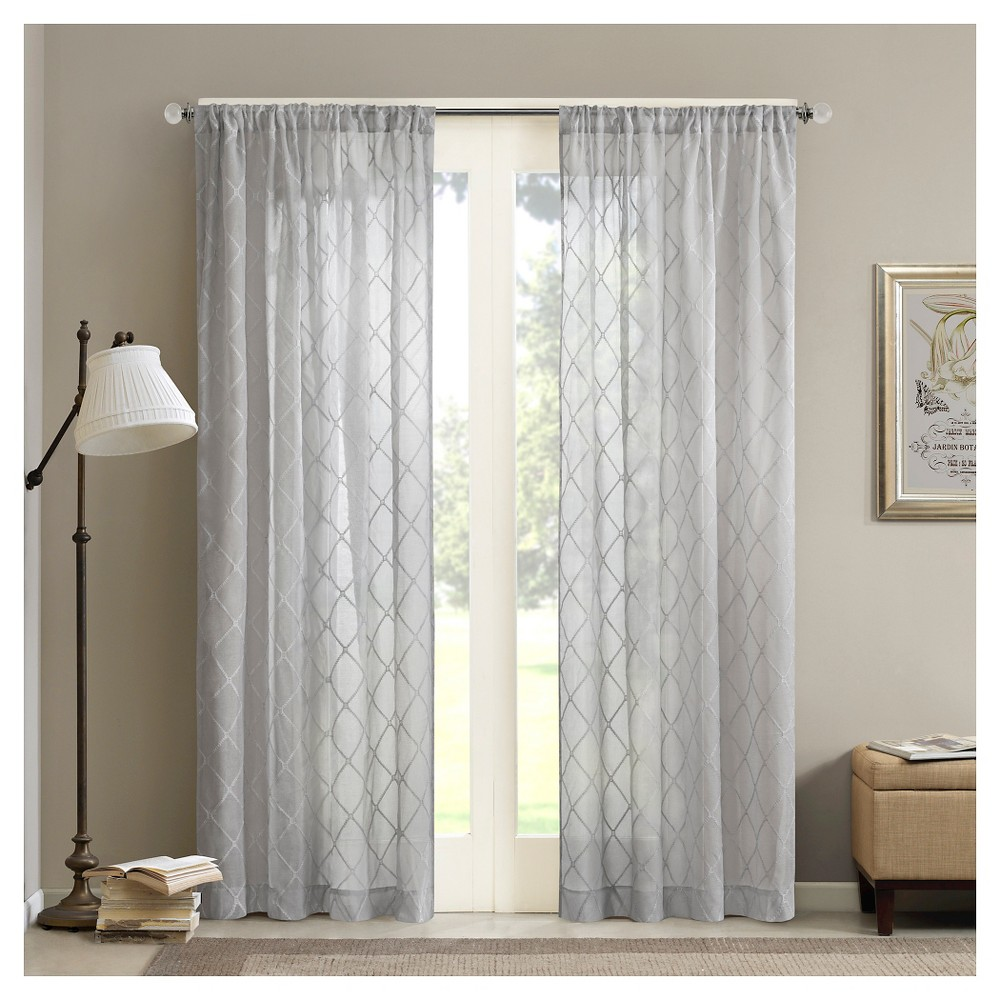 Discounts 95x50 Clarissa Diamond Sheer Curtain Panel Gray