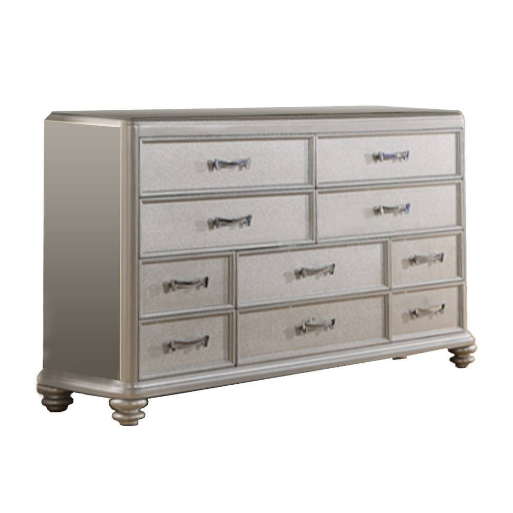 Image of 10 drawers Wooden Dresser Silver - Benzara