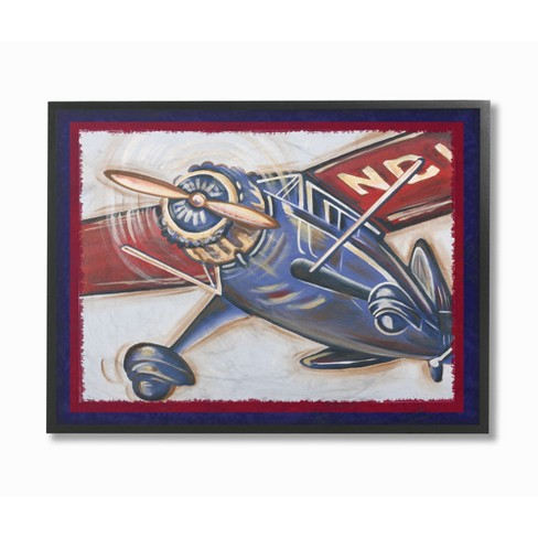"Blue and Red Vintage Plane Framed Giclee Texturized Art (11""x14""x1.5"") - Stupell Industries - image 1 of 3"