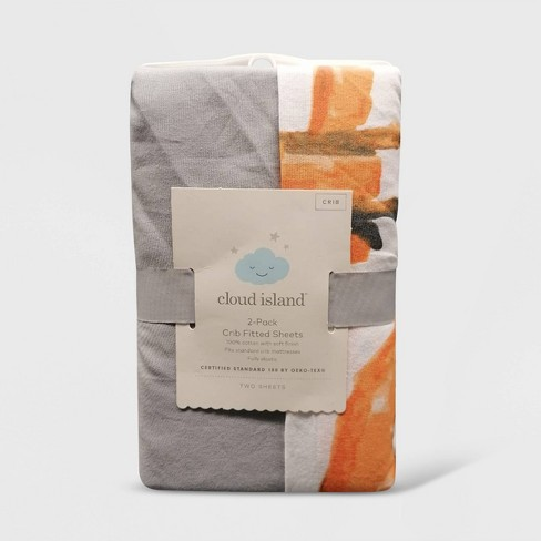 Crib Fitted Sheets Fox and Gray Solid - Cloud Island™ Gray/Orange/White 2pk - image 1 of 1