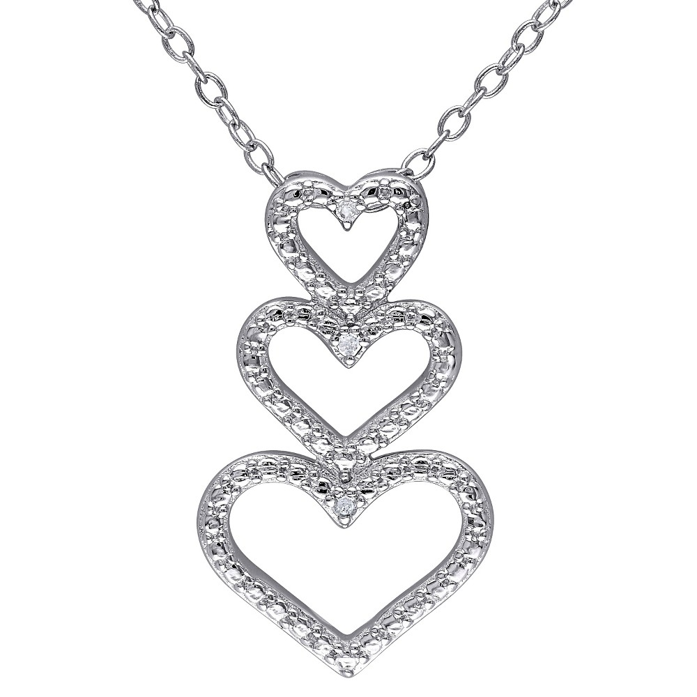 Image of 0.015 CT. T.W. Diamond Triple Heart Pendant Necklace in Sterling Silver (HIJ) (I3), Women's, White