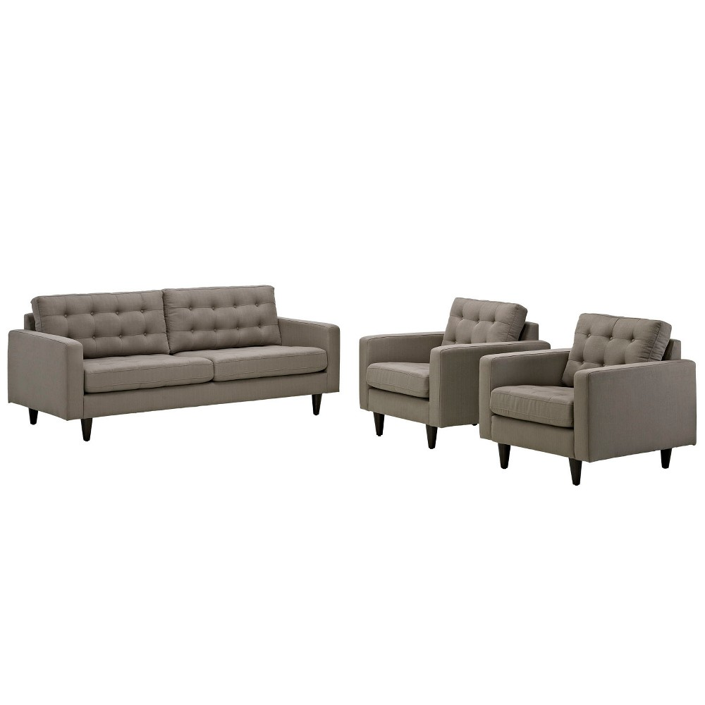 Empress Sofa and Armchairs Set of 3 Granite - Modway