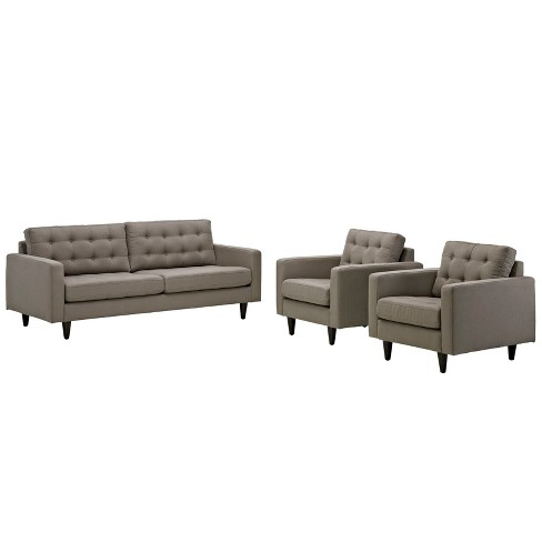 Empress Sofa and Armchairs Set of 3 Granite - Modway - image 1 of 6