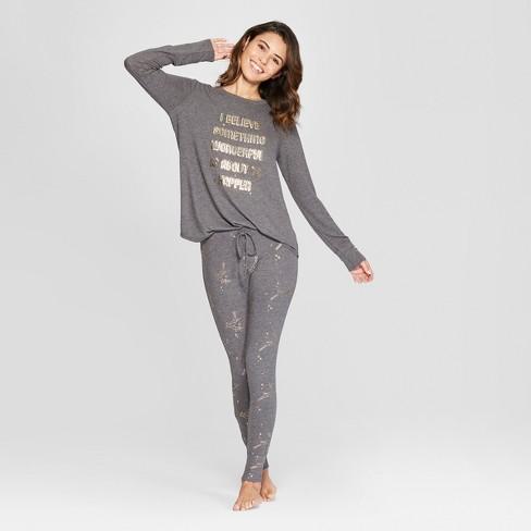bf2d90c4dd28 Women s Cozy Pajama Set - Xhilaration™ Charcoal M   Target