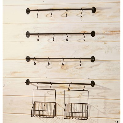 Lakeside Wall Rack for Coffee Mugs, Tea Cups with Industrial Pipe Style - 6 Pieces