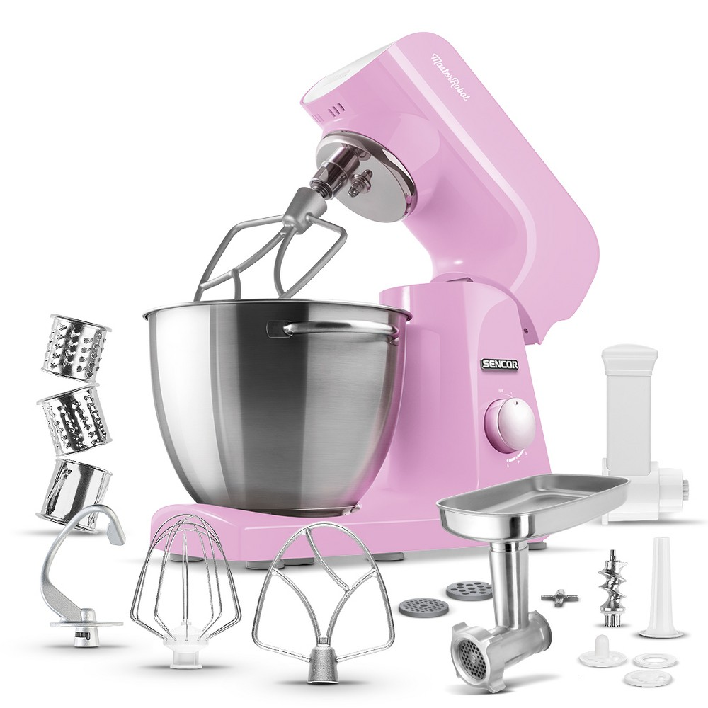 Sencor 4.75qt Stand Mixer and Accessories – Pink 54289369