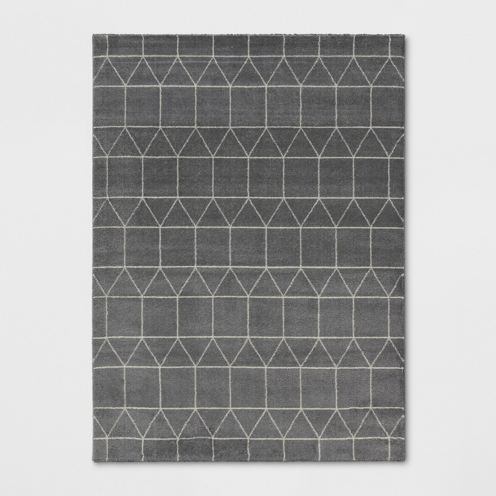 5'X7' Woven Geometric Area Rug Charcoal Heather - Project 62