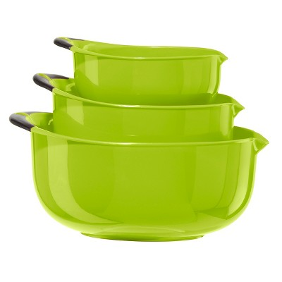 Oggi Green 3 Piece Oval Mixing Bowl Set with Black Soft Grip Handles