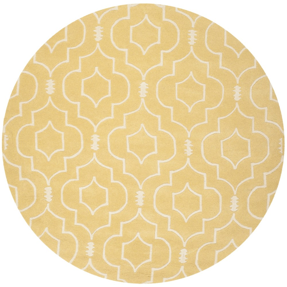 7' Geometric Tufted Round Area Rug Light Gold/Ivory - Safavieh