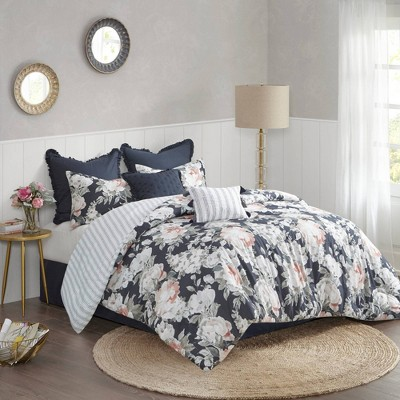 Sorrel Queen 8pc Cotton Printed Reversible Comforter Set Dark Blue
