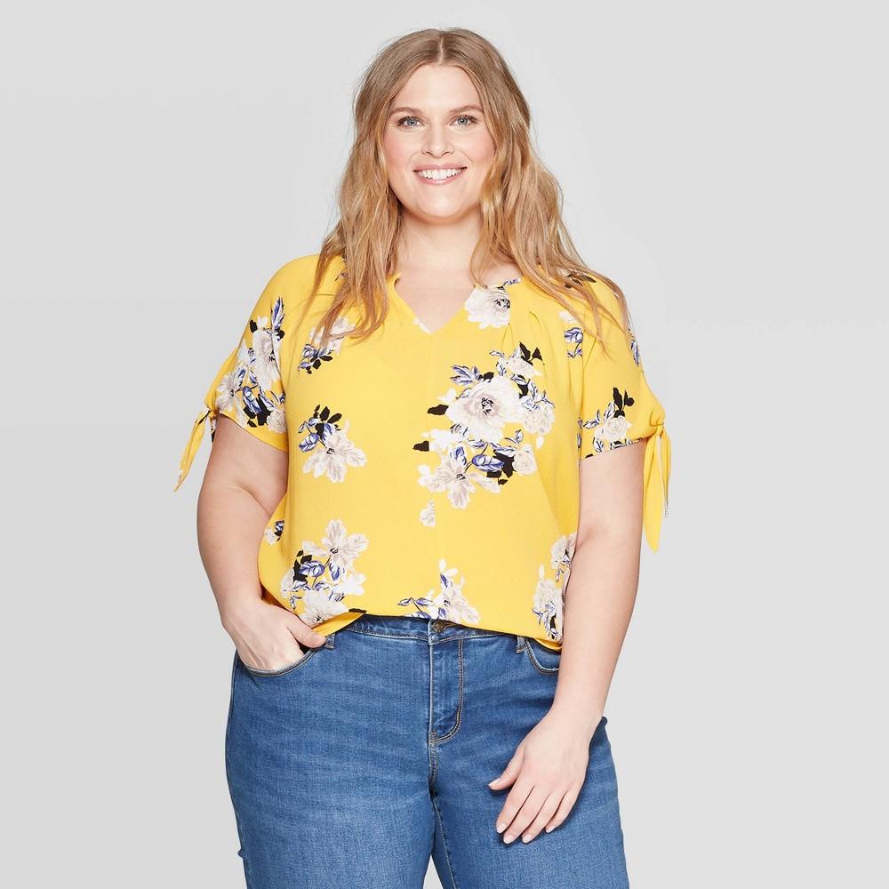 Women's Plus Size Floral Print V-Neck Tie Short Sleeve Blouse - Ava & Viv Yellow 3X