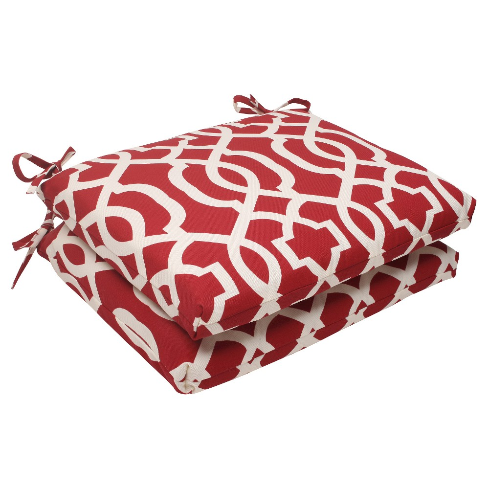 Outdoor 2-Piece Square Seat Cushion Set - Red/White Geometric