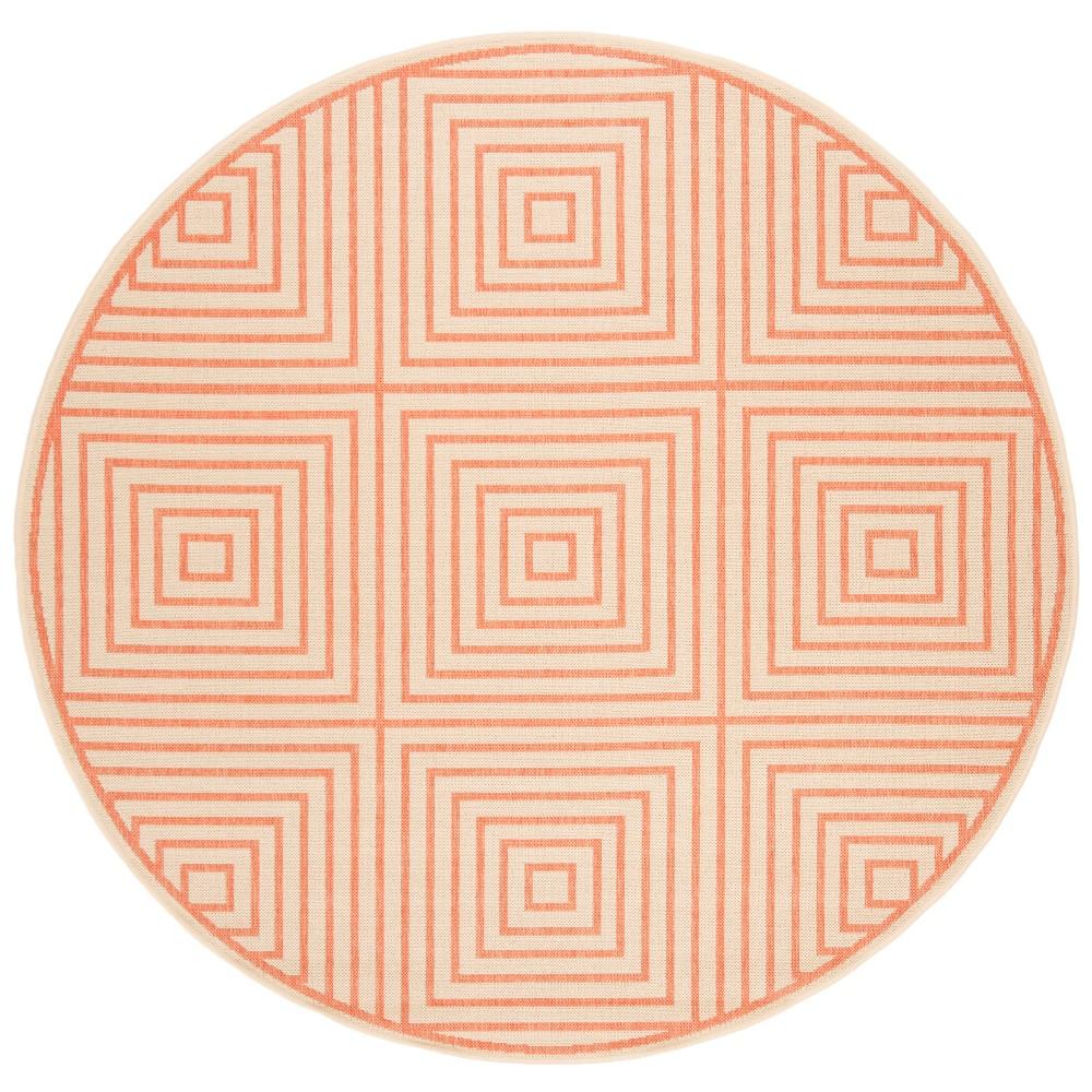 6 7 Geometric Loomed Round Area Rug Cream Rust Safavieh