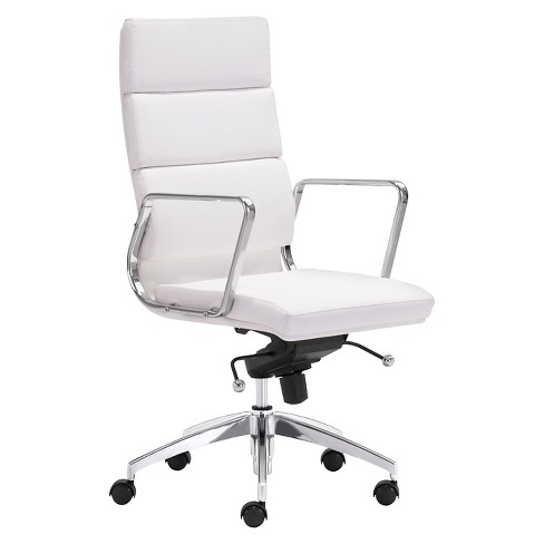 Peachy Modern Sleek Adjustable High Back Office Chair White Zm Home Caraccident5 Cool Chair Designs And Ideas Caraccident5Info