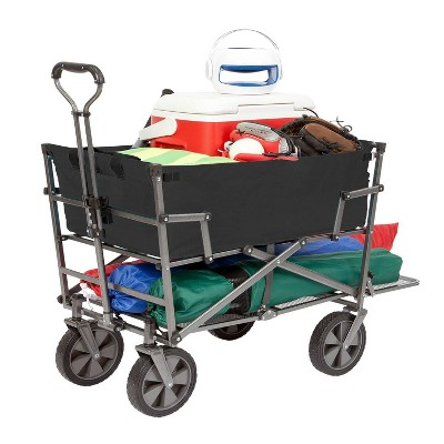 Mac Sports Double Decker Heavy Duty Steel Frame Collapsible Outdoor 150 Pound Capacity Yard Cart Utility Garden Wagon with Lower Storage Shelf, Black