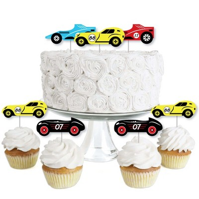 Big Dot of Happiness Let's Go Racing - Racecar - Dessert Cupcake Toppers - Race Car Birthday Party or Baby Shower Clear Treat Picks - Set of 24