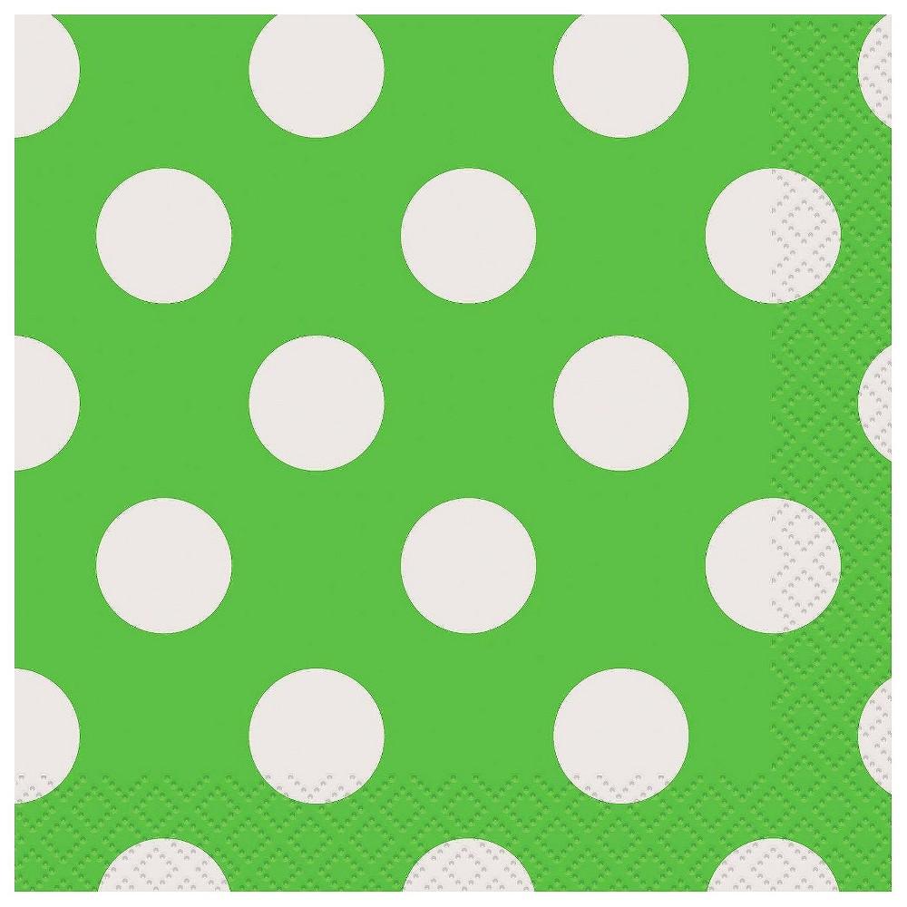16ct Green & White Polka Dot Cocktail Beverage Napkin
