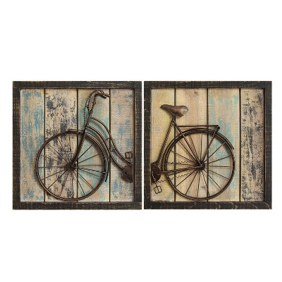 Rustic Bicycle Wall Decor (Set of 2)- Stratton Home Decor