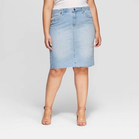 ff19b9545c Women s Plus Size Denim Midi Skirt - Universal Thread™ Light Blue   Target
