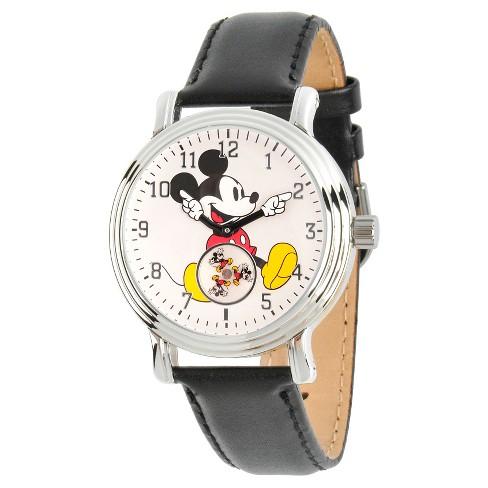 a6ea78c72b7f Women s Disney Mickey Mouse Silver Vintage Alloy Watch - Black   Target