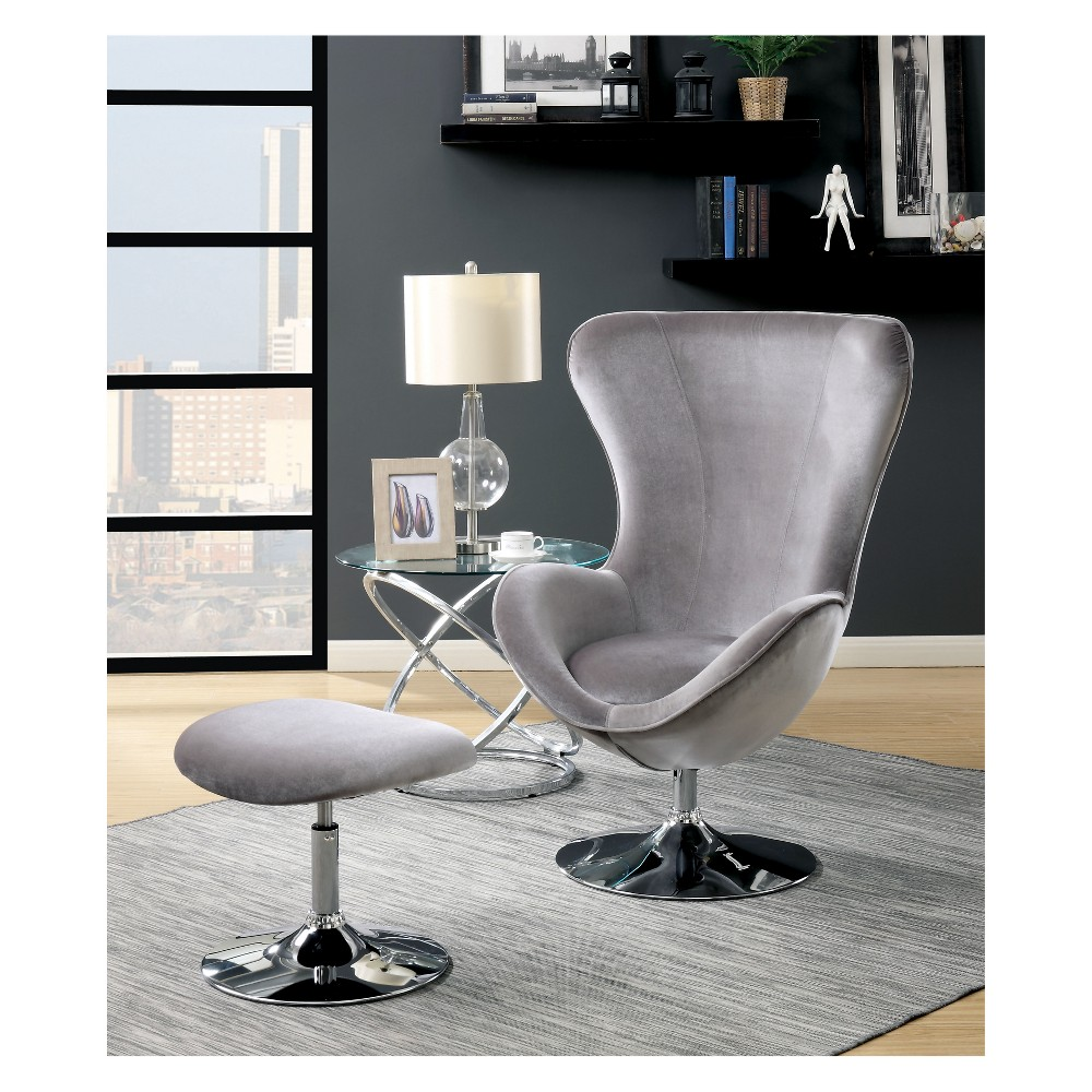 Ashford Contemporary High Back Chair with ottoman Gray - Homes: Inside + Out